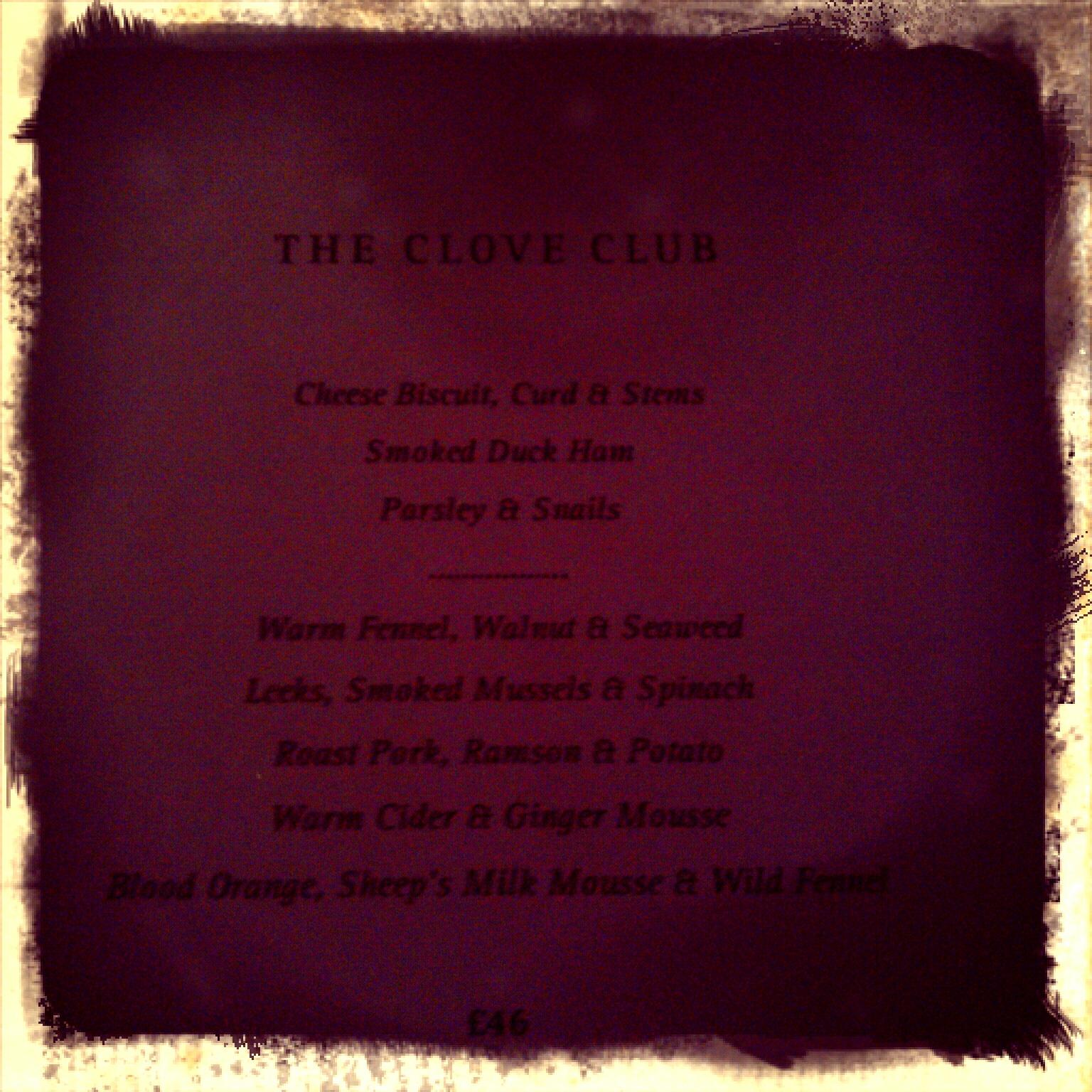 Clove Club menu